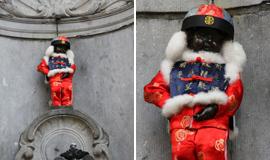 """比利时""""第一公民""""着红装迎中国国庆"""