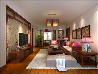 装修效果图欣赏:中式风格两室一厅-中国搜索家居